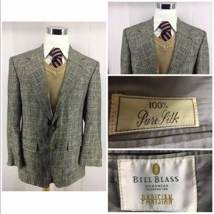 Bill Blass 100% Silk Union Men Blazer Jacket 42